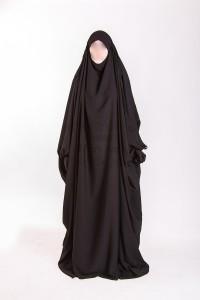 Jilbab Saoudien Umm Maryam Sitar intégré noir (SI)