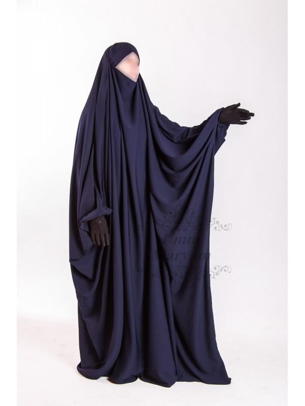 Jilbeb Saoudien Umm Maryam bleu tissu Crêpe (SC)