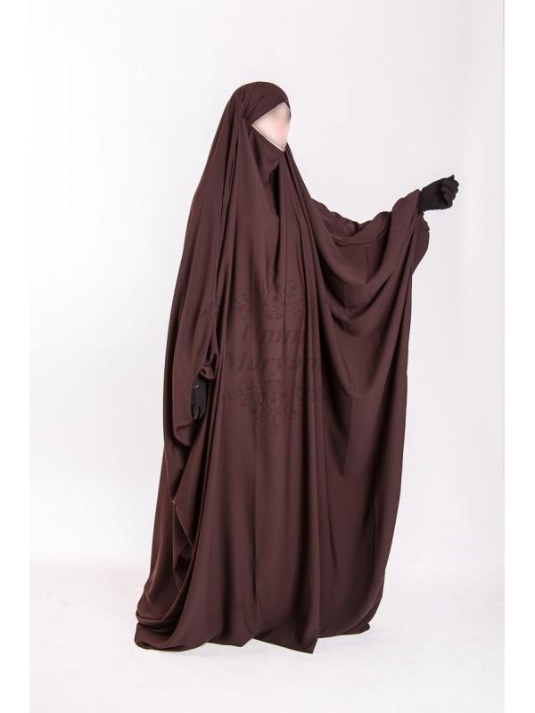 Jilbeb Saoudien Umm Maryam Marron tissu Crêpe (SC)
