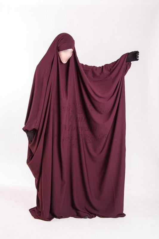 Jilbab Saudi Umm Maryam Burgundy CREPE (SC)