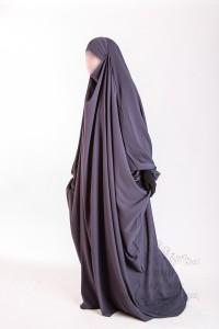 Jilbab Saudi Umm Maryam gray CREPE (SC)