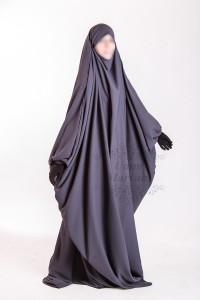 Jilbeb Saoudien Umm Maryam gris tissu Crêpe (SC)
