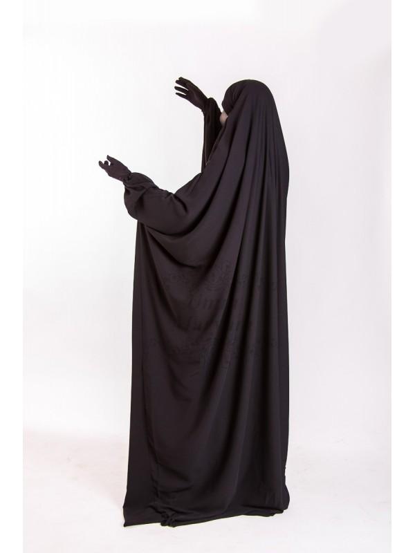 Jilbeb Saoudien Umm Maryam Noir tissu Crêpe (SC)